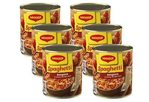 Maggi Spaghetti Bolognese | Nudelgericht mit Fleisch- und Tomatensauce | Nach italienischem Rezept |  Mit Gemüse | Fertiggericht zum Kochen | Ohne Geschmacksverstärker | 6er Pack (6 x 810 g Dose) Spaghetti
