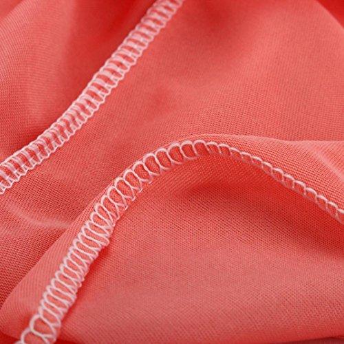 Kleid Transer® Damen Sexy Sundress V Neck Ärmellos Knöchel-Länge Abendmode Sommer Outdoor Strand Kleid Weiß Rosa Rot Grün Blau Festival Party Chiffon Print Punkt Kleider Gr.S-XL Rosa