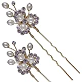 Fanny Pearl & Diamante Bridal Hair pin (placcato in oro), confezione da 2 (e2030hg-2)