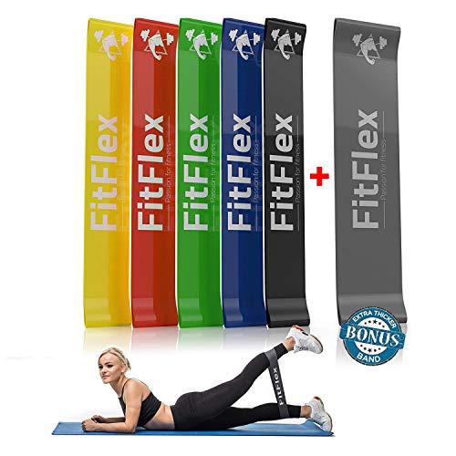 doppio spessore set 6 elastici fitness resistenza | allenamento attrezzi casa multifunzione uomo donna | sport palestra pesi | ginnastica crossfit pilates fisioterapia yoga | elastico esercizi glutei