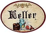 Kaltner Präsente Geschenkidee - Holz Türschild im Antik Design Motiv KELLER (Ø 18 cm)