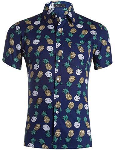 Loveternal Hawaii Hemd Pineapple Herren 3D Druck Cooler Grafik Kurzarm Hawaii Shirt Freizeit Bunte Hemden M -