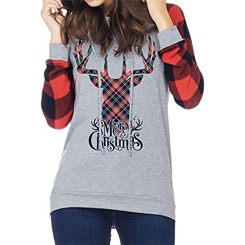 (Christmas Sweater Damen UFODB Elegant Frau Brief Streifen Drucken Hoodies Kapuzenpullis Sweatershirt Pullover Xmas Weihnachtspullover Oberteile Shirt)