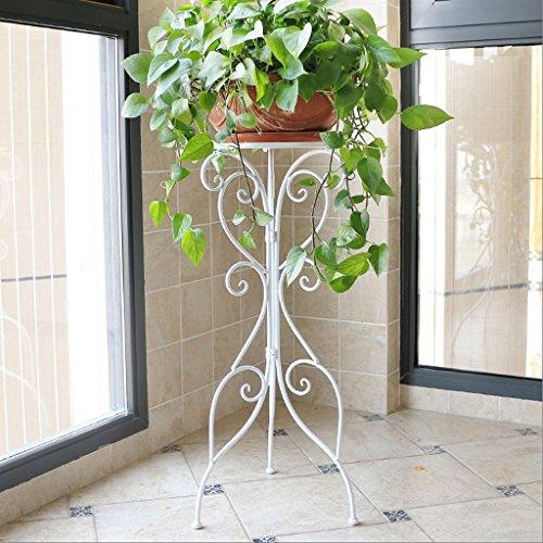 Gj flower stand singolo lavabo soggiorno balcone interno piano semplice vaso di fiori europeo stand (colore : bianca, dimensioni : l36cm*h79cm)
