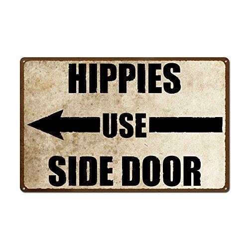 Hippies Utilisation Porte latérale Gauche Images Vintage Metal Sign Retro Tin Plaque Murale Humoristique