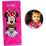 Unbekannt Gurtschoner / Gurtpolster -  Disney Minnie Mouse  - incl. Name - Gurtschutz - für Sicherheitsgurt - Gurt Polster - für Auto / Kindersitz / Autoschale - Scho..