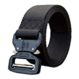 STRIR Cinturón de Cintura táctico de Patrulla de Hombres Lona de Nylon Aliento Hebilla de Metal Función múltiple Equipo de Trabajo Pesado al Aire Libre (115CM, G)