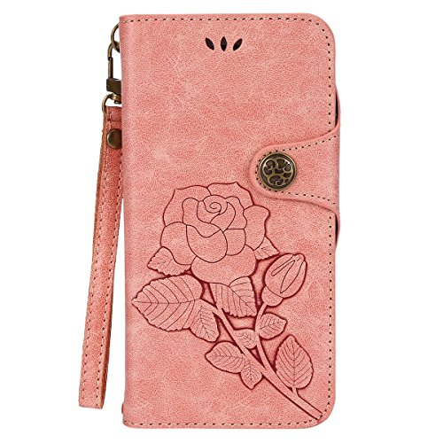 Custodia iPhone 6S Plus,Custodia iPhone 6 Plus,ikasus® iPhone 6S Plus / 6 Plus Custodia Cover [PU Leather] [Shock-Absorption] Protettiva Portafoglio Cover Custodia Con retro fibbia in pelle 3D rilievo Rosa