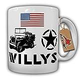 US Army Willys MB Overland WW2 1942 Hotchkiss Stern Fahne Wk Oldtimer Sammler Fan Kult Geländewagen - Tasse Kaffee Becher #17777