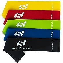 Sport2People S2P001 - 5 Bandas/cintas de resistencia elastica para piernas, equipo de terapia fisica, fitness, Pilates, Crossfit, entrenamiento de fuerza, Multicolor.