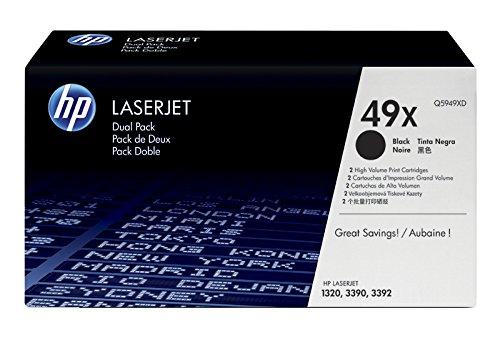 HP 49X 2er-Pack (Q5949XD) Schwarz Original Toner mit hoher Reichweite für HP Laserjet 1320tn, 3390, 3393, 4200