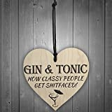Red Ocean Gin & Tonic Classy People Novelty Wooden Hanging Heart Kitchen Alcohol Plaque from Red Ocean