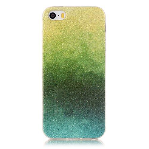 Hülle für iPhone SE 5SE 5 5S(Ultra Dünn), BasicStock Sparkle Glitzer Bling Stoßfest TPU Weich Back Case Leicht Tropfen Schützend Stoßstange Case Telefon Etui Schale(Blau) Gelb + Grün