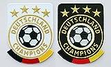 2er Set Fussball Stick Abzeichen 86 x 65 mm / Deutschland Champions / Gold Stickerei, Aufbügler, Applikation, Aufnäher, Patch, Bügelbild für Kleidung, Cap, Taschen / Fußball National Mannschaft Team Meister Fan