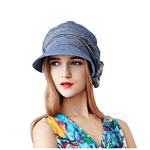 Visière Chapeau De Soleil Femme Filles Large Bord Bleu