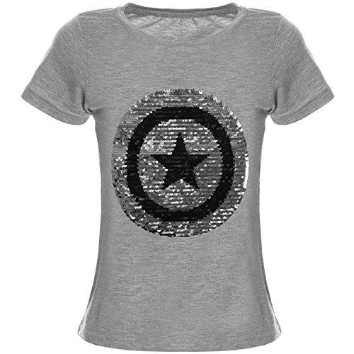 BEZLIT Kinder Mädchen Wendepailletten T-Shirt Bluse Kurzarm Shirt 21366, Farbe:Grau;Größe:140 (Lange T-shirt Mädchen)