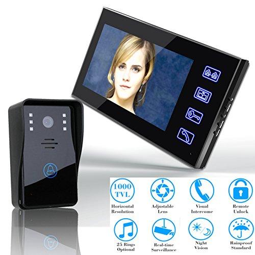 LGFB 7-Zoll-Video-Display Telefon Gegensprechanlage Home Monitoring Video Türklingel Touch-Taste Remote entsperren Infrarot LED Nachtsicht Television Kamera Remote-video-monitoring-system