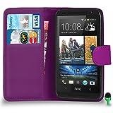 POUR HTC Desire 610 - SHUKAN Prime Cuir VIOLET Portefeuille Cas Coque Couverture VERT Cap