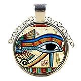 Joli Pendentif Plaqué Argent Oeil d'Horus Loupe avec Chaîne