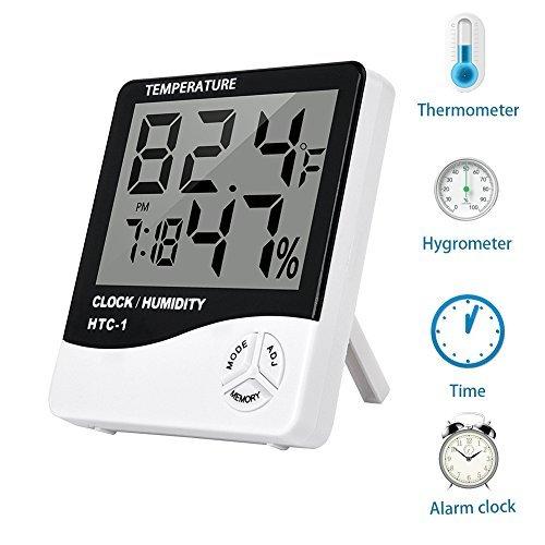 Galleria fotografica htc-1Digital igrometro termometro igrometro con display LED monitor, allarme giornaliero, calendario, orologio 12/24ore, funziona da AAA (non incluse)