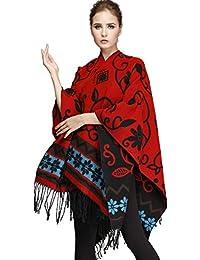 Seawhisper 150x132cm cape réversible et élégant châle Chaud étole conception floral écharpe avec frange