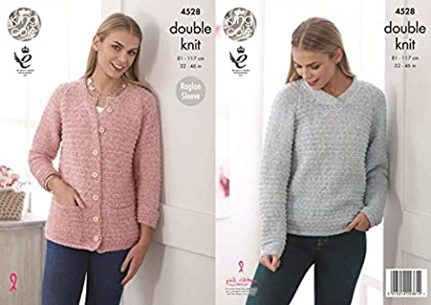 King Cole 4528 Knitting Pattern Ladies Sweater Cardigan in Authentic DK by King Cole