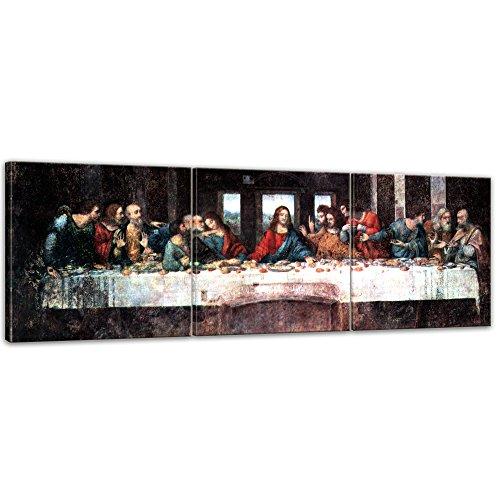 Wandbild Leonardo da Vinci Das Abendmahl - 180x60cm Panorama mehrteilig quer - Alte Meister Berühmte Gemälde Leinwandbild Kunstdruck Bild auf Leinwand
