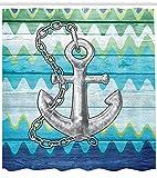 Abakuhaus Duschvorhang, Aquarell Illustration des Ankers mit Farbe Ozeanblau Wellen Ausrüstung Retro Digital Druck Bild, Wasser und Blickdicht aus Stoff mit 12 Ringen Bakterie Resistent, 175 X 200 cm