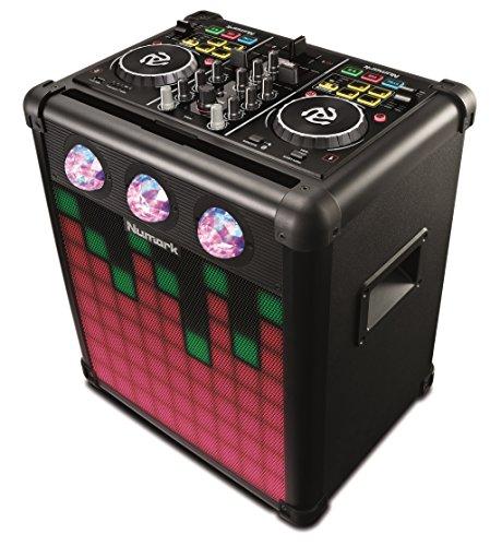 Numark Party Mix Pro - DJ-Controller mit integrierten soundgesteuerten Lichteffekten, wiederaufladbarem tragbarem Lautsprecher, Bluetooth und DJ-Software für Mac / PC / iOS inbegriffen