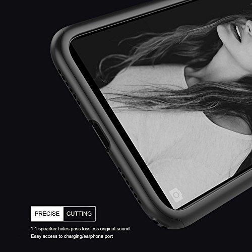iPhone X Hülle Ganzkörper, 360 Grad Schutz Ultra Dünn Hard Slim Fall beschichtete rutschfeste matt Oberfläche mit Tempered Glas Displayschutzfolie für Apple iPhone X (Blau) blau