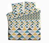 Somtex Geometrik Parure de Lit, 100% Coton, Jaune/Gris/Noir/Bleu Canard, 240 x 220 cm 63 x 63 cm