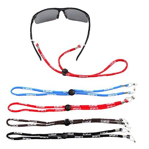 Sports Brillenband Brillenkordel, CrzKo Verstellbare Brillenband Brillen Strap Neck Cord Sonnenbrille Halter Armband für Sportbrillen und Lesbrille Halter Armband für Sportbrillen und Lesebrillen, 4PC