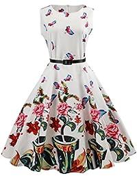 DOGZI Kleider Sommer Damen Sommerkleid Damen Lang Knielang Kleid Damen  Sommer Vintage Armelloser Neckholder-Abend b58dd6778b