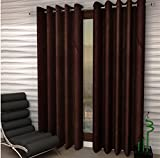 #4: Italian Fab Plain Crush Polyester (Set of 4) Door Curtains 7Feet (Dark Brown)