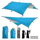 Hisea Hamaca Lona Rain Fly Tent Tarps 3m x 3m - Ligero Impermeable Cubierta de la Lluvia Volar Rainfly Parasol Refugio Ripstip Tarp Para Camping Senderismo Playa Trekking Viajes,Azul