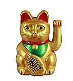 HAAC Winkekatze Glückskatze Glücksbringer Farbe gold matt 16 cm