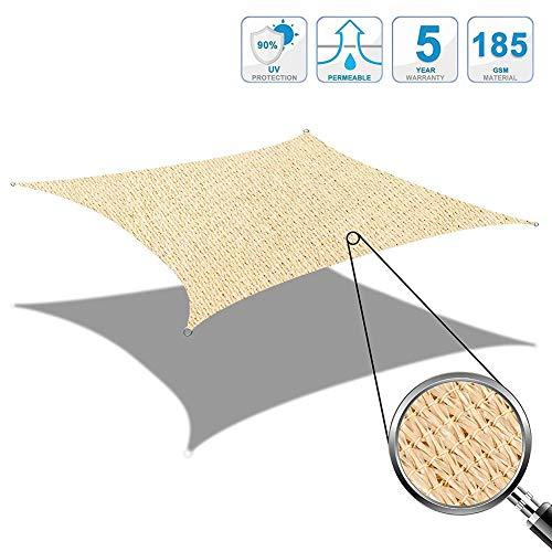 LYYK Sonnensegel Quadrat 5.5x5.5m, Sun Segel, Sonnenschutz robust stabil windabweisend Wetterschutz, für Garten Terrasse Balkon - Beige