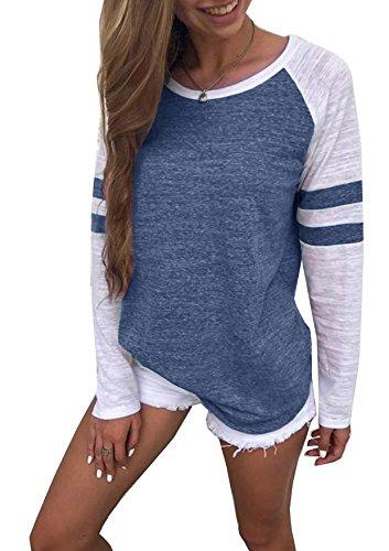 Generic Hiistandd Damen Langarmshirt Farbblock Langarm T-Shirt Casual Rundhals Tunika Tops (Medium, blau)