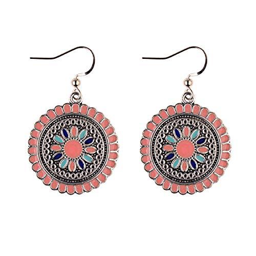 Boho Sommer Vintage Seil gestrickte hohle Blume Runde Ohrringe Perlen Simulierte Perle Ohrringe für Mädchen orange