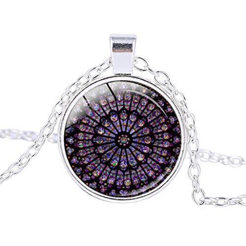 n, Halskette mit Anhänger der Pariser Kathedrale aus rosigem Buntglas, Legierung ()