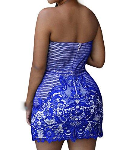 Dissa S1122762 femme Sexy Mini Robe Cocktail Bleu