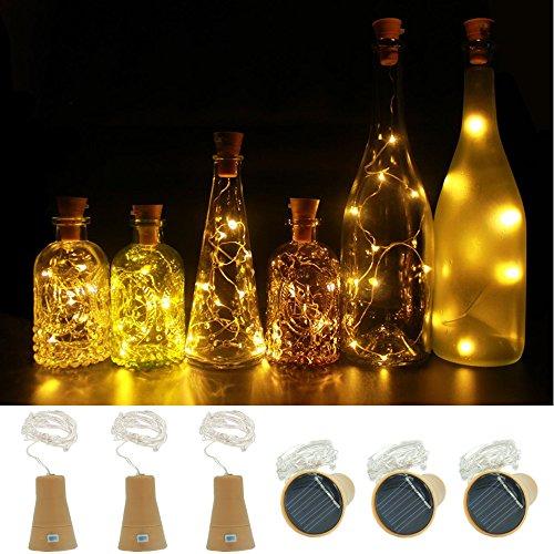 6 Stück Warmweiß Solar Wein Flasche Lichter,100cm 10 LED Ultrahell Kupferne Kette Sternenklare Korken Weinflaschen, Tabellen-Mittelstücke für Party, Garten, Schlafzimmer, Weihnachten, Halloween, Hochzeit, Deko