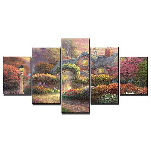wfdmd 5 Panel HD drucken Thomas Kinkade Dorf Landschaft Malerei Leinwand Wandkunst 5 Stück Bild Rahmen Malerei auf Leinwand @ with_Frame_30X40_30X60_30X80cm -