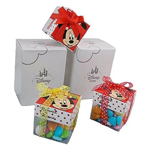 Bomboniere minnie disney 10 pezzi astuccio scatoline portaconfetti vuote da preparare cm. 5x5 - m112000/2 **10 pz**