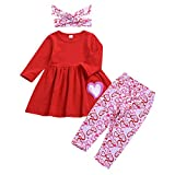 LEXUPE Mädchenbekleidung, Kleinkind Kinder Baby MäDchen Valentinstag Print Tops Hosen Haarband Outfits Set
