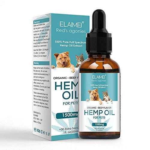 Womdee Hanföl für Hunde und Katzen zur Linderung von Angstzuständen, zur Beruhigung und Gesunderhaltung der Gelenke, für das Aroma von Rindfleisch und zur Verbesserung des Schlafes -