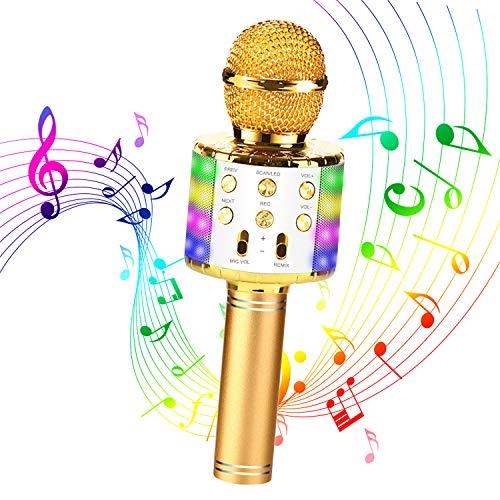 Micrófono Karaoke Bluetooth, Micrófono Inalámbrico Bluetooth, 4 en1 Micrófono Karaoke Portátil con Luces LED, Bluetooth Altavoz Micrófono Karaoke para Cantar y Grabar, Compatibile con Android/iOS PC