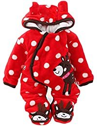 5f430fedf Newborn Unisex Baby Winter Jumpsuit Hooded Romper Fleece Onesie All in One Snow  Suit Outfits