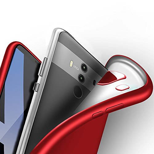 Huawei Mate 10 Pro Hülle, Eabuy Ultra Dünn FeinMatt Weich TPU Bumper Shockproof Anti-Slip Anti Fingerabdruck Schutzhülle für Huawei Mate 10 Pro Rot -