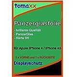Apple iPhone 4 4S (1 x VORNE und 1 x RÜCKSEITE) Glas Glasfolie 9H Panzerglas Panzerglasfolie Schutzfolie